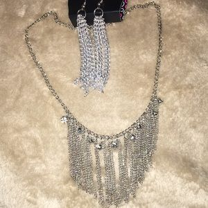 Silver Fringe Earring and Necklace Set